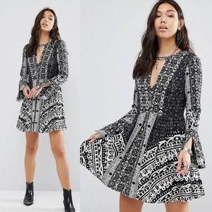 Free People Tegan Boarder Printed Black Mini Dress
